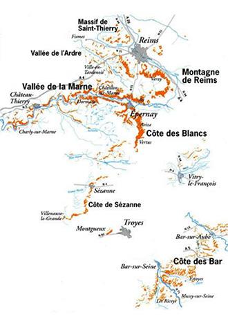 cartina geografica dei dello Champagne